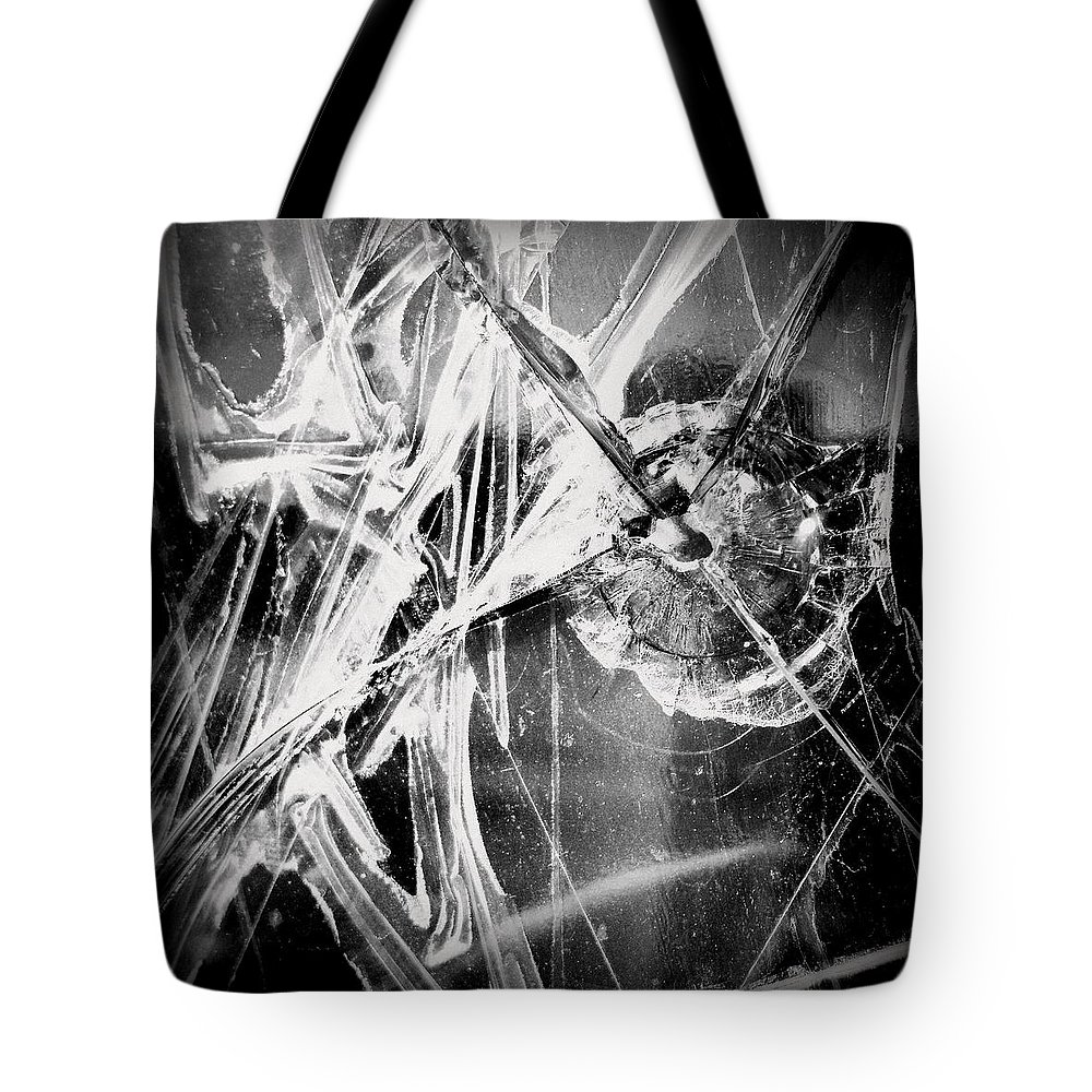 Joseph Skompski Tote Bag featuring the photograph Shatter - Black And White by Joseph Skompski