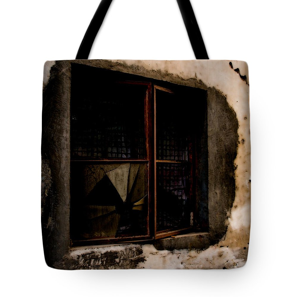 Aged Tote Bag featuring the photograph Shattered Past by Venetta Archer