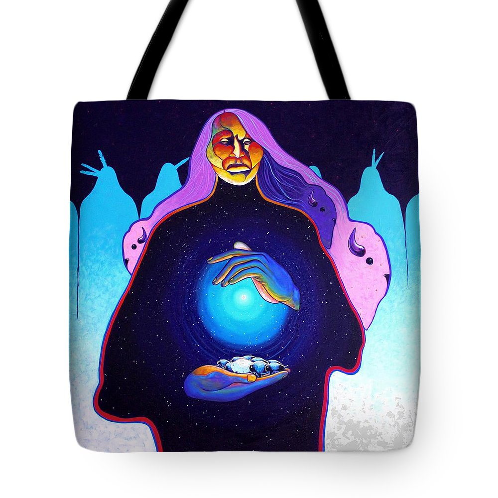 Spiritual Tote Bag featuring the painting She Carries The Spirit by Joe Triano