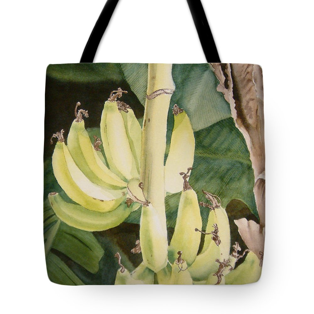 Watercolor Tote Bag featuring the painting She Has Gone Bananas by Karen Richardson