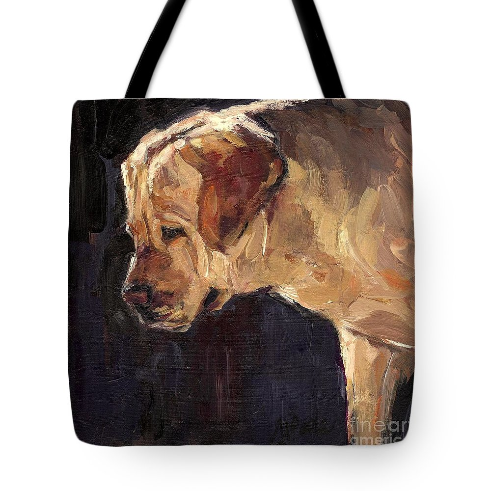 Yellow Labrador Retriever Tote Bag featuring the painting She is a Looker by Molly Poole