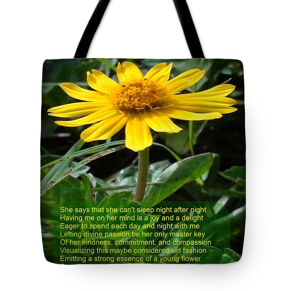 Flower Tote Bag featuring the photograph She Loves Me by Rusty Gouveia