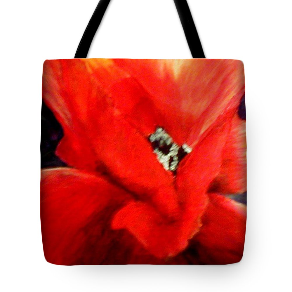 Floral Tote Bag featuring the painting She Wore Red Ruffles by Gail Kirtz