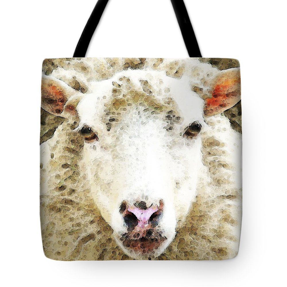 Sheep Tote Bag featuring the painting Sheep Art - White Sheep by Sharon Cummings