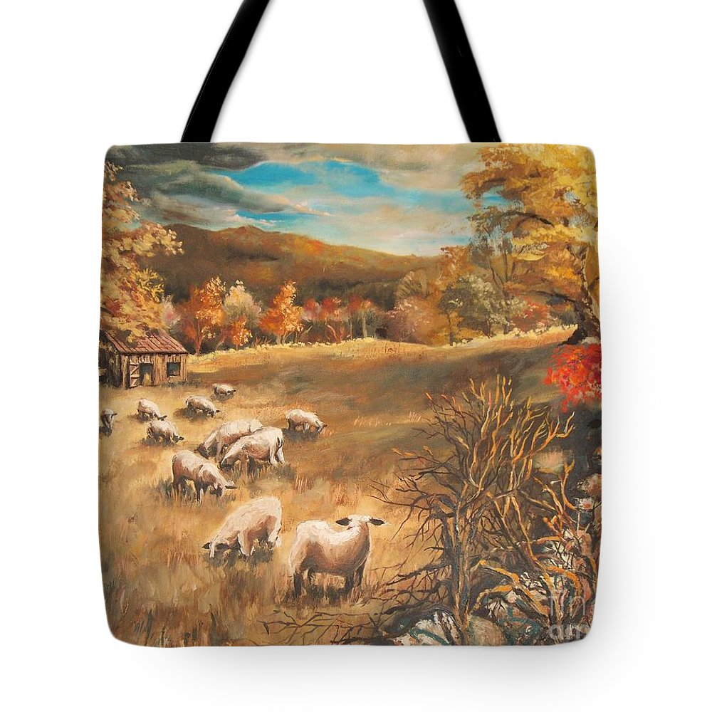 Oil Painting Tote Bag featuring the painting Sheep in October's field by Joy Nichols