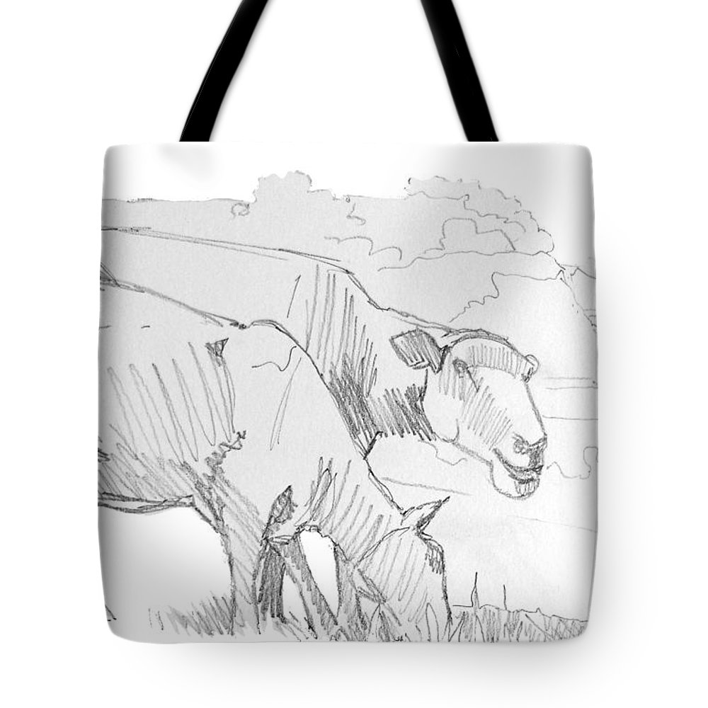 Sheep Tote Bag featuring the drawing Sheep Pencil Drawing by Mike Jory