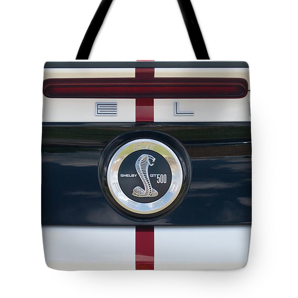 Car Tote Bag featuring the photograph Shelby Cobra Emblem by Mark Dodd