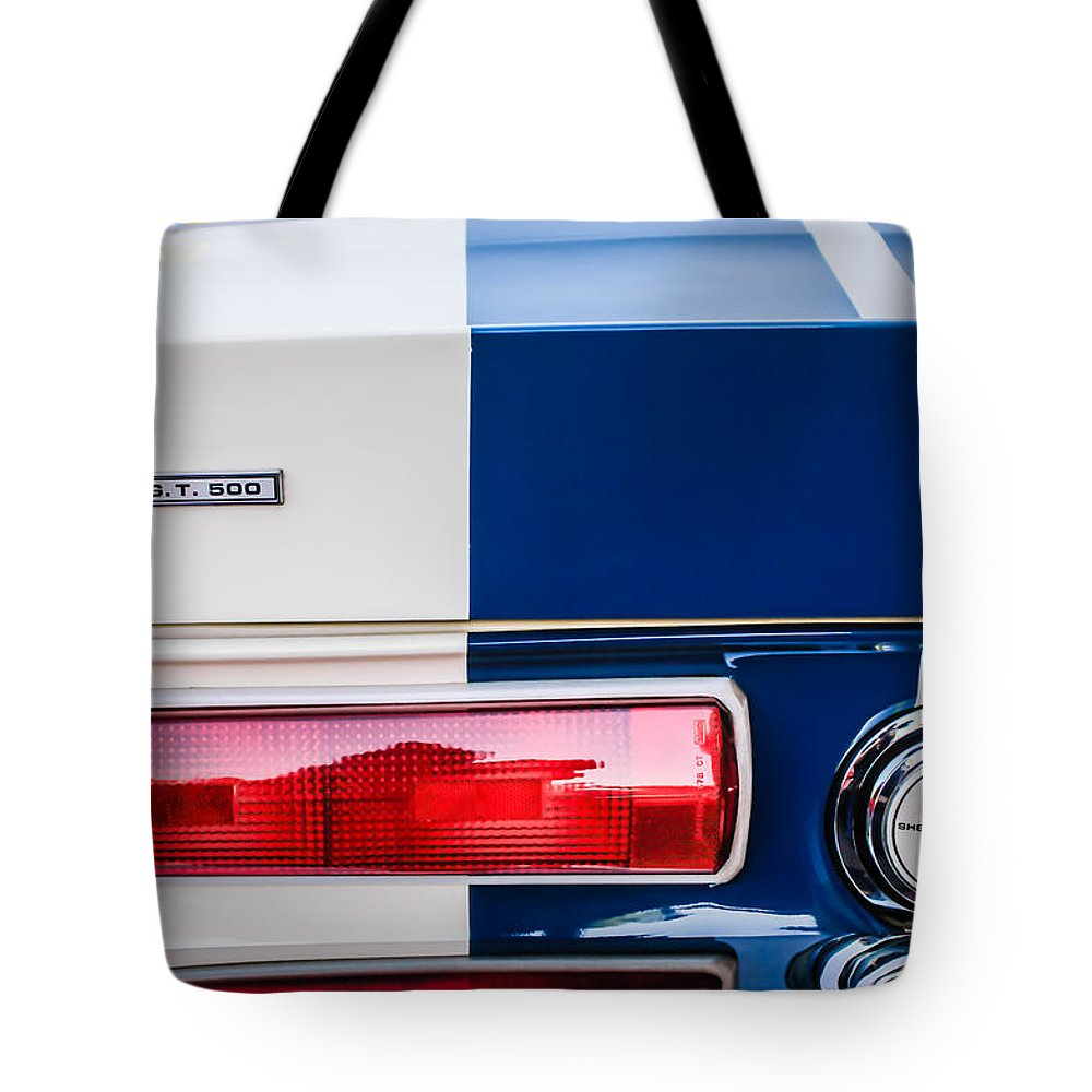 Shelby Cobra G.t. 500 Rear Emblems Tote Bag featuring the photograph Shelby Cobra G.t. 500 Rear Emblems -0036c by Jill Reger