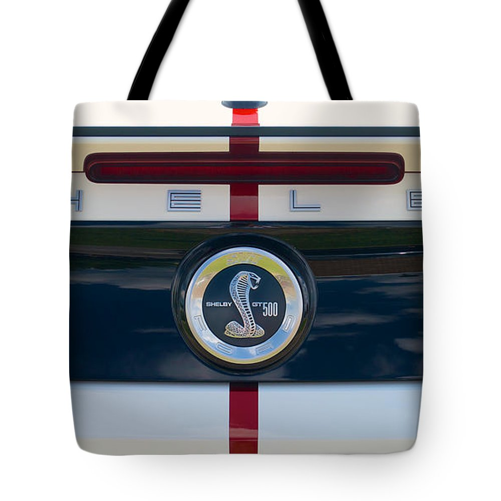 Car Tote Bag featuring the photograph Shelby Cobra Tailgate Emblem by Mark Dodd