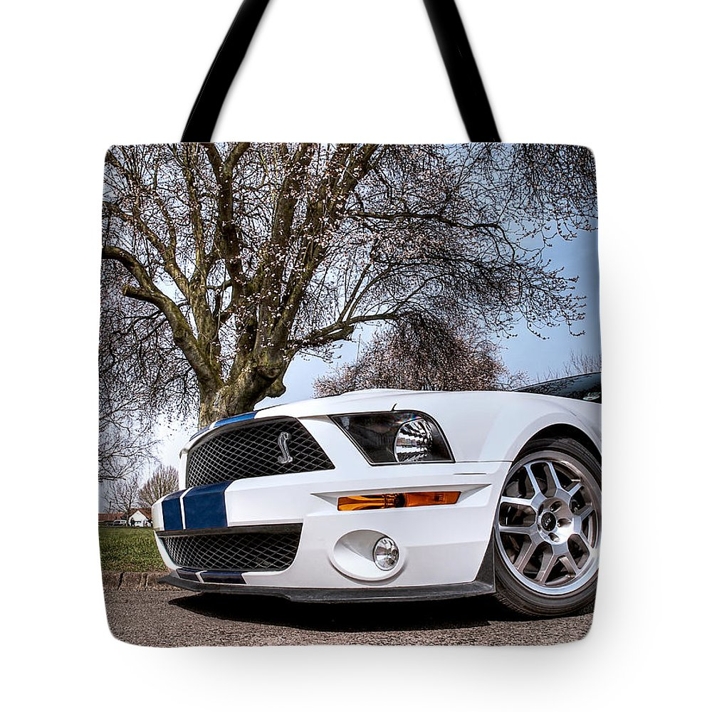 Shelby Mustang Tote Bag featuring the photograph Shelby On The Village Green by Gill Billington