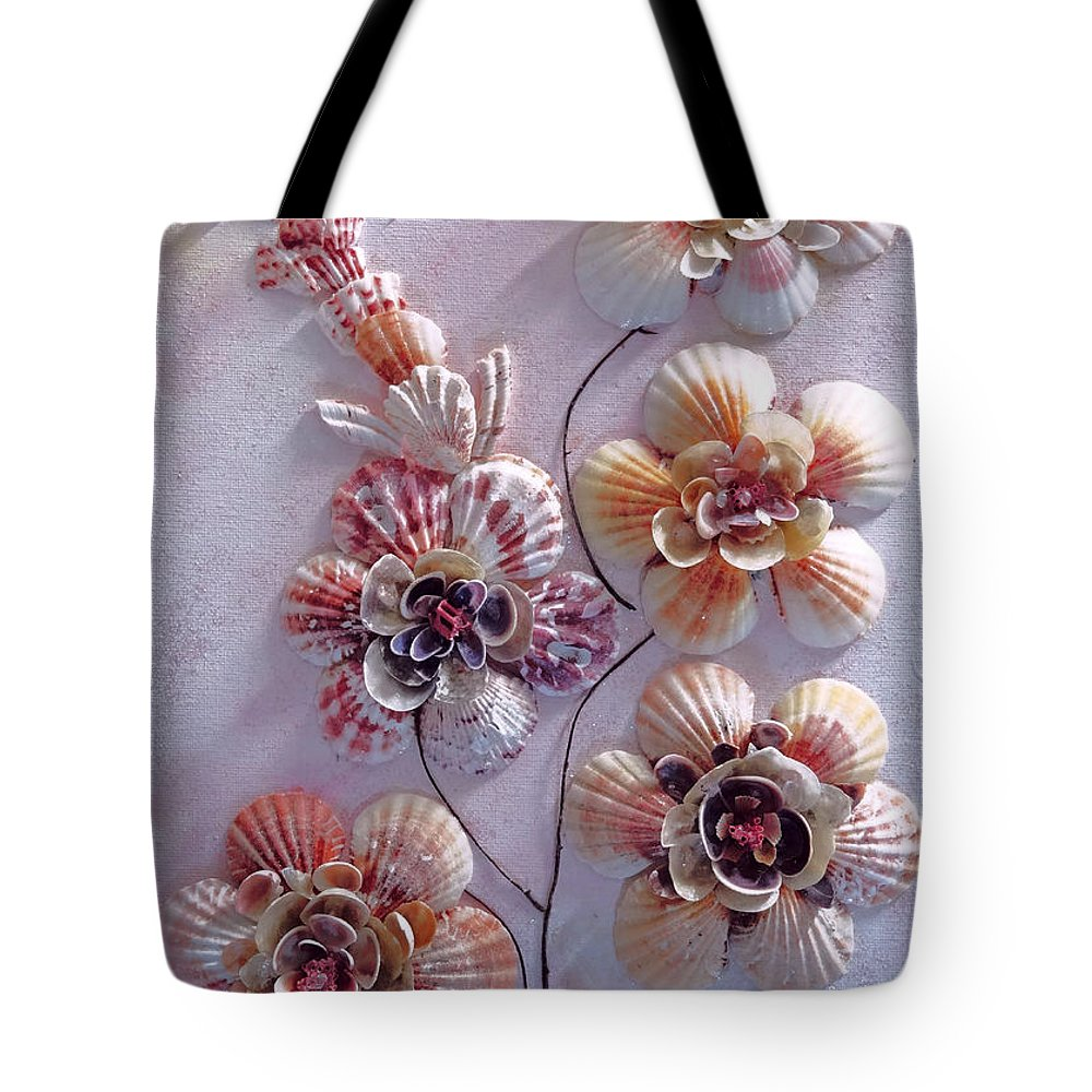 Sea Shells Tote Bag featuring the photograph Shell Flowers No 1 by Karin Dawn Kelshall- Best