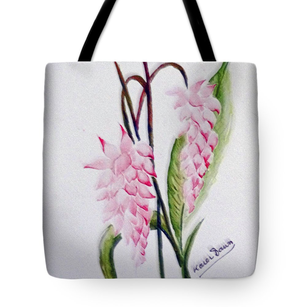 Tropical Ginger Tote Bag featuring the painting Shell Ginger by Karin Dawn Kelshall- Best