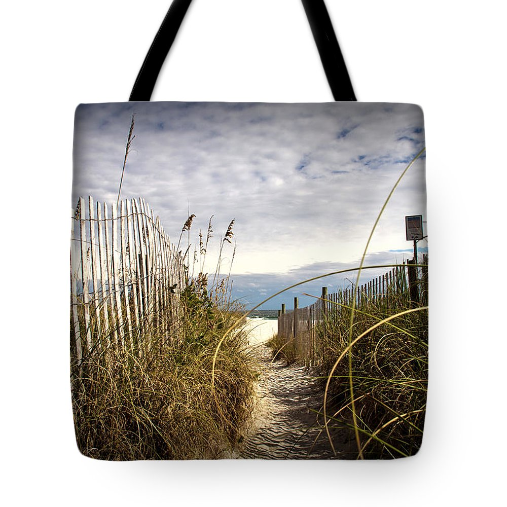 Beach Scene Tote Bag featuring the photograph Shell Island Beach Access by Phil Mancuso