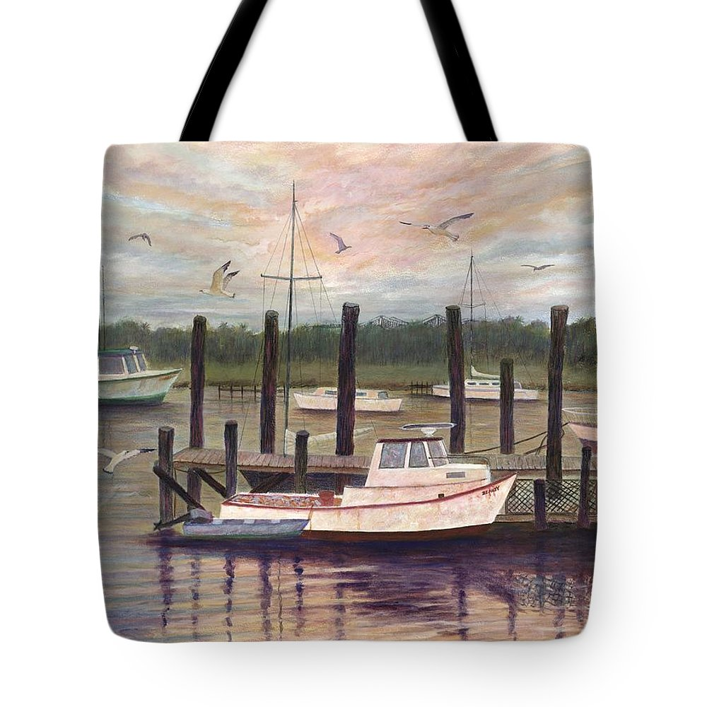 Charleston; Boats; Fishing Dock; Water Tote Bag featuring the painting Shem Creek by Ben Kiger