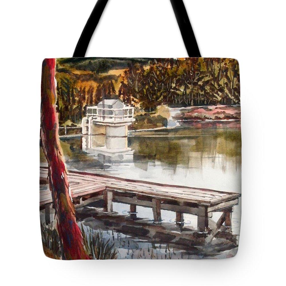 Shepherd Mountain Lake In Twilight Tote Bag featuring the painting Shepherd Mountain Lake In Twilight by Kip DeVore
