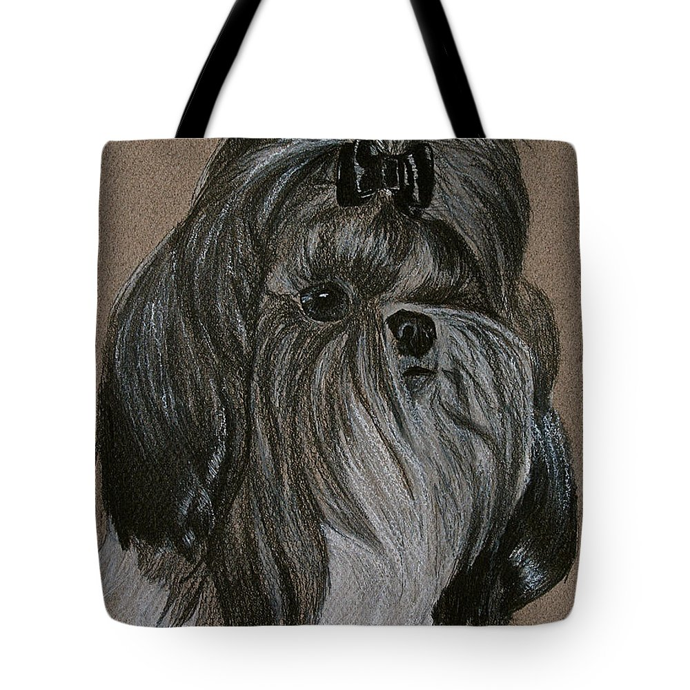 Shih Tzu Tote Bag featuring the drawing Shih Tzu by Susan Herber