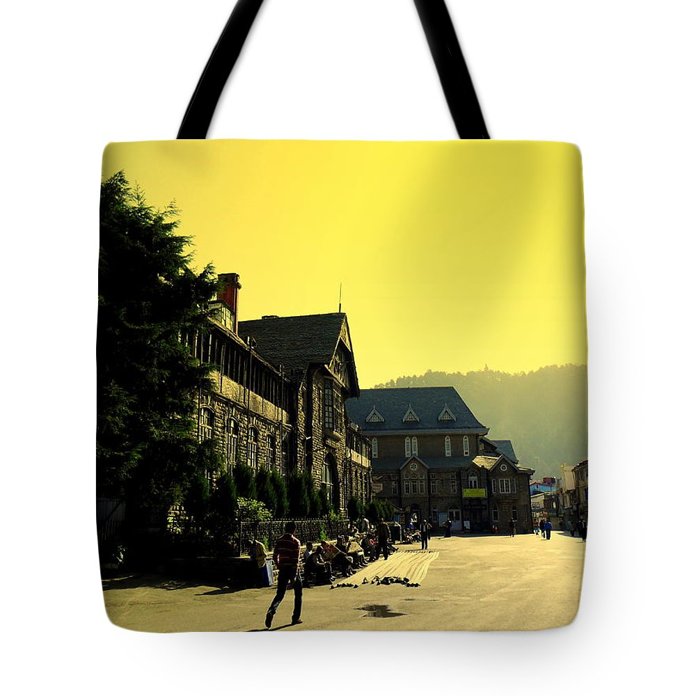 Wallpaper Buy Art Print Phone Case T-shirt Beautiful Duvet Case Pillow Tote Bags Shower Curtain Greeting Cards Mobile Phone Apple Android Nature Shimla Himachal Pradesh India Town Hall Mall Road Hills Hill Station Salman Ravish Khan Tote Bag featuring the photograph Shimla by Salman Ravish