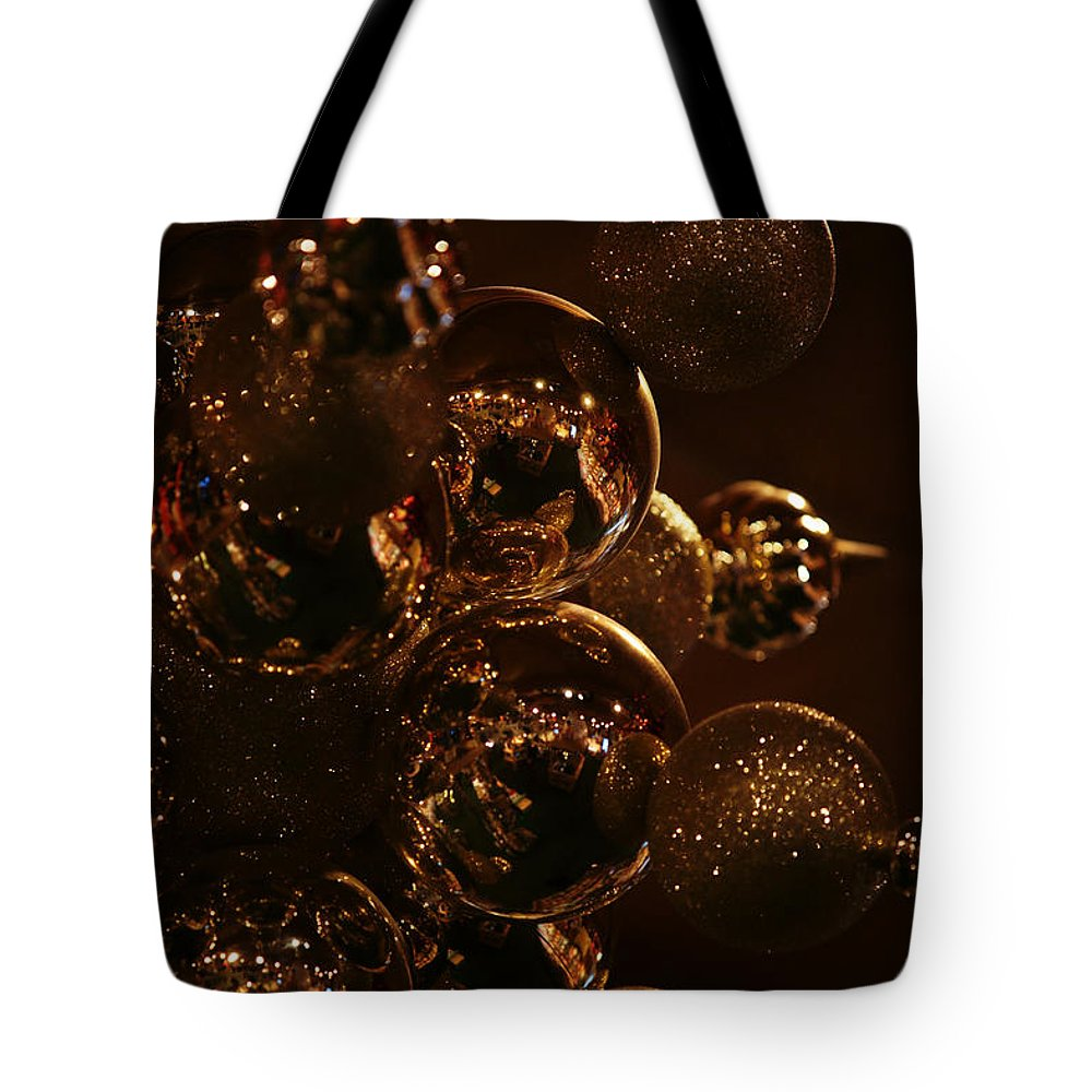 Christmas Tote Bag featuring the photograph Shimmer In Gold by Linda Shafer