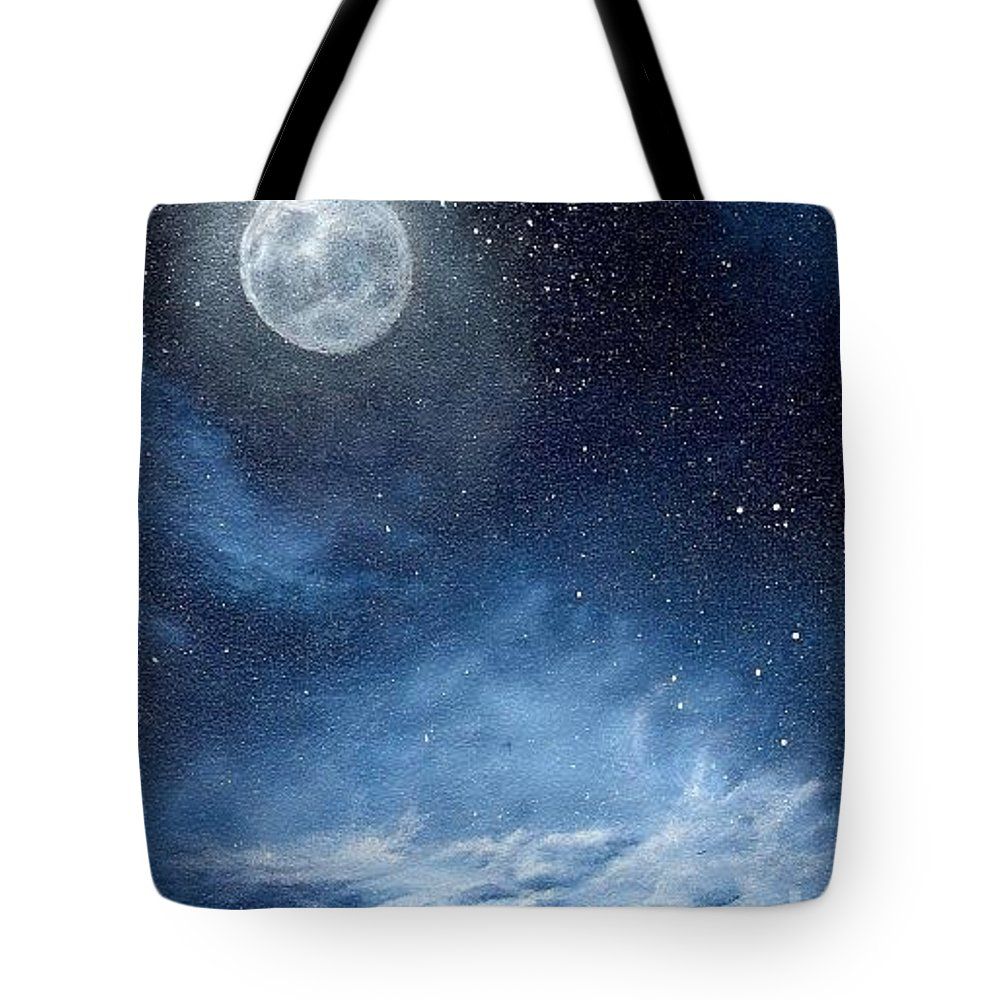 Cosmos Tote Bag featuring the painting Shimmer by Murphy Elliott