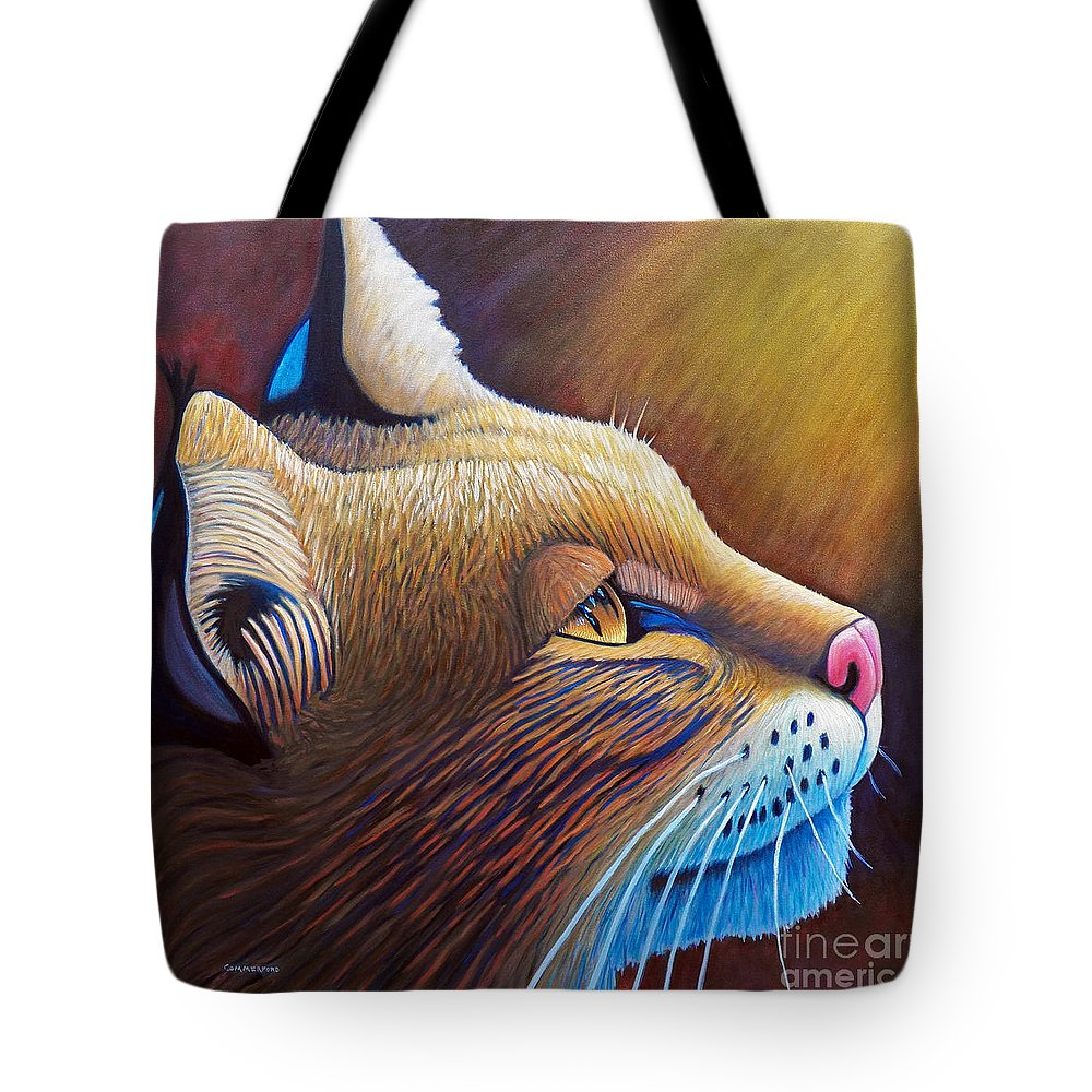 Bobcat Tote Bag featuring the painting Shine by Brian Commerford