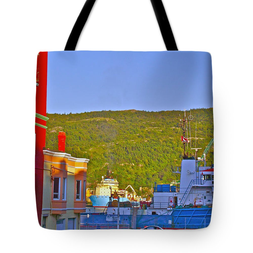 Ship At The End Of Water Street In Saint John's Tote Bag featuring the photograph Ship At The End Of Water Street In Saint John's-nl by Ruth Hager