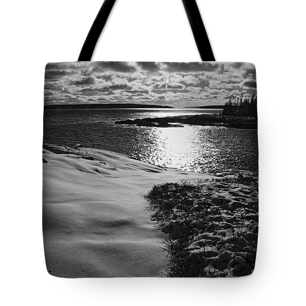 Maine Tote Bag featuring the photograph Ship Harbor Winter by David Rucker
