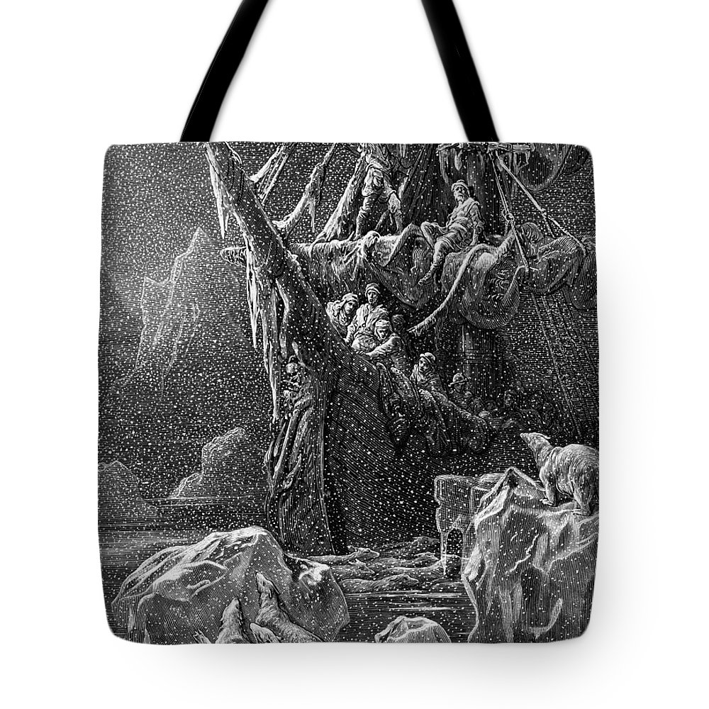 Antartic; Ice; Icebergs; Freezing; Polar Bears; Sailors; Sea; Bears; Bear; Frozen; Dore Tote Bag featuring the drawing Ship In Antartica by Gustave Dore