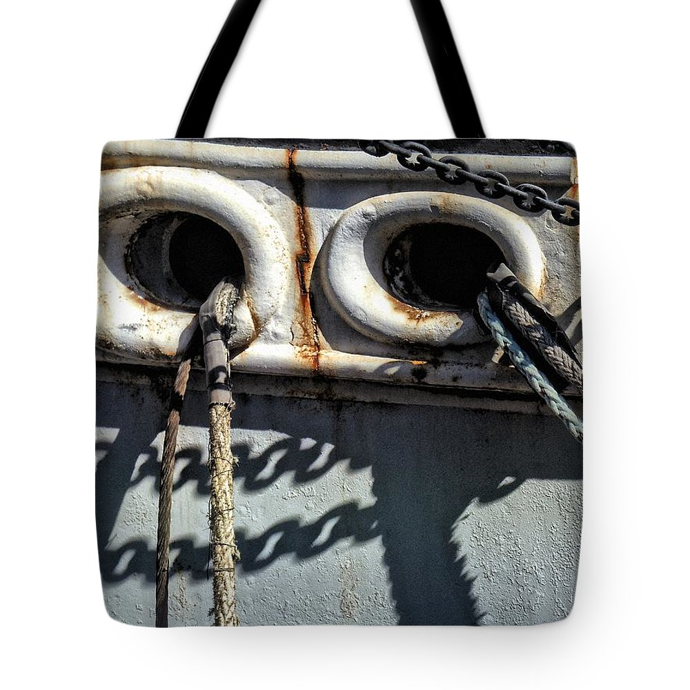 Ship Tote Bag featuring the photograph Ship Ropes Chains by Joan Reese