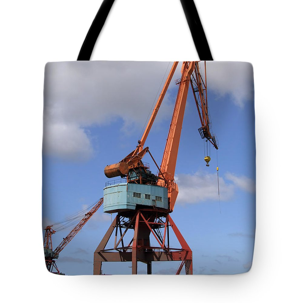 Crane Tote Bag featuring the photograph Shipping Industry Crane 06 by Antony McAulay