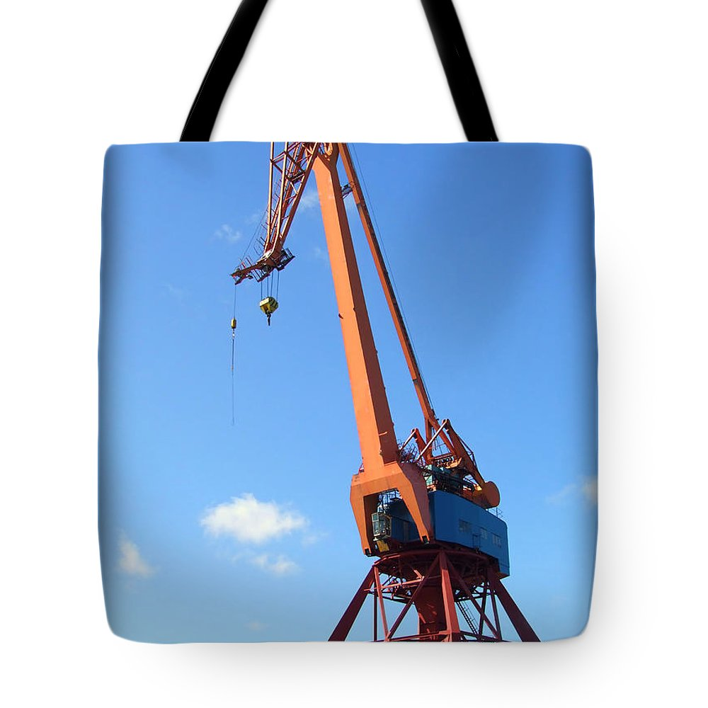 Crane Tote Bag featuring the photograph Shipping Industry Crane by Antony McAulay