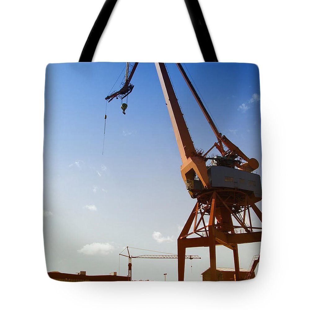 Crane Tote Bag featuring the photograph Shipping Industry Dock by Antony McAulay