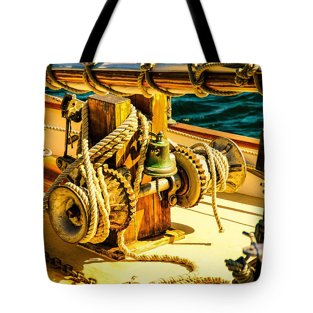 Bell Tote Bag featuring the photograph Ships Bell Sailboat by Bob Orsillo