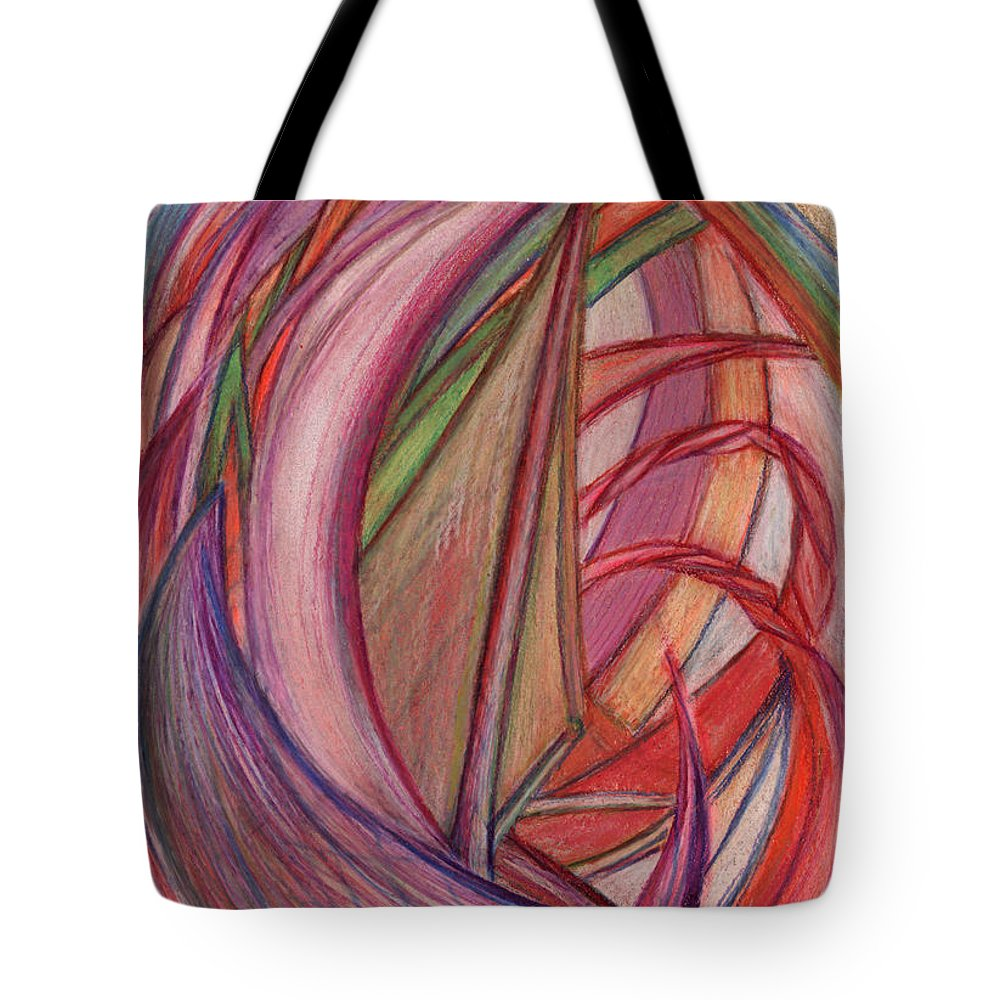 Abstract Tote Bag featuring the drawing Ships by Kelly K H B