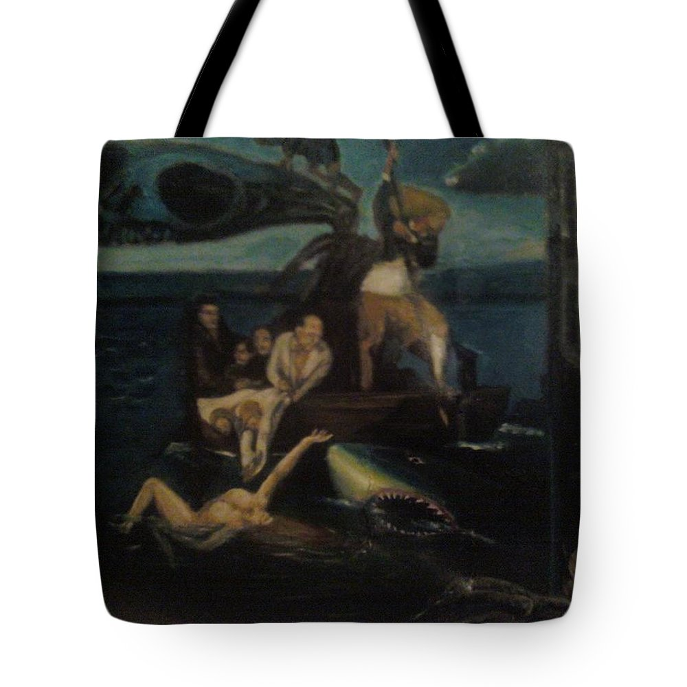 Tote Bag featuring the painting Shipwrecked Psyche Unfinished by Jude Darrien