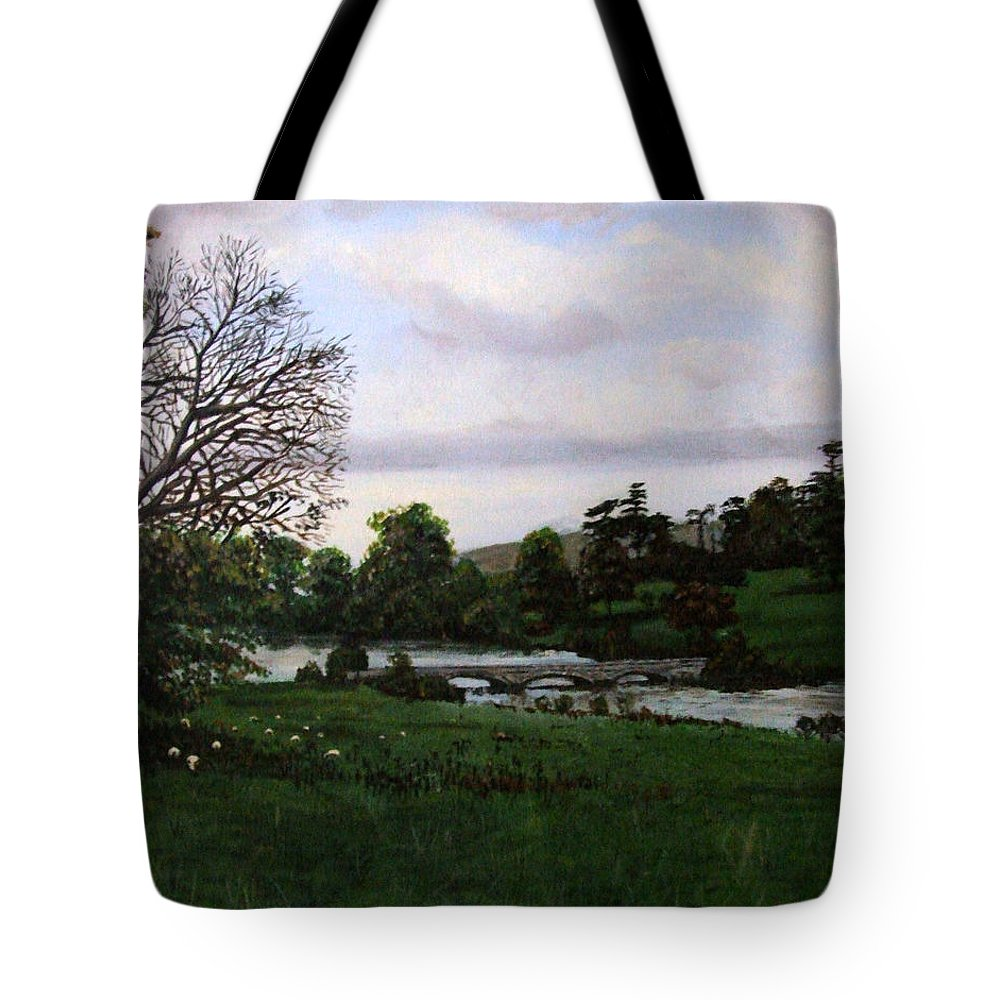 Crediton Tote Bag featuring the painting Shobrooke Park Crediton Devon by Mackenzie Moulton