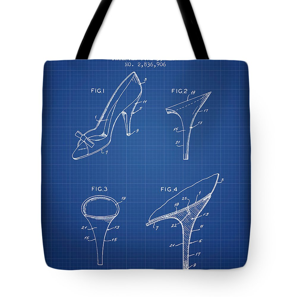b9b8298946 Heels Tote Bag featuring the digital art Shoes And Heels Patent From 1958 -  Blueprint by