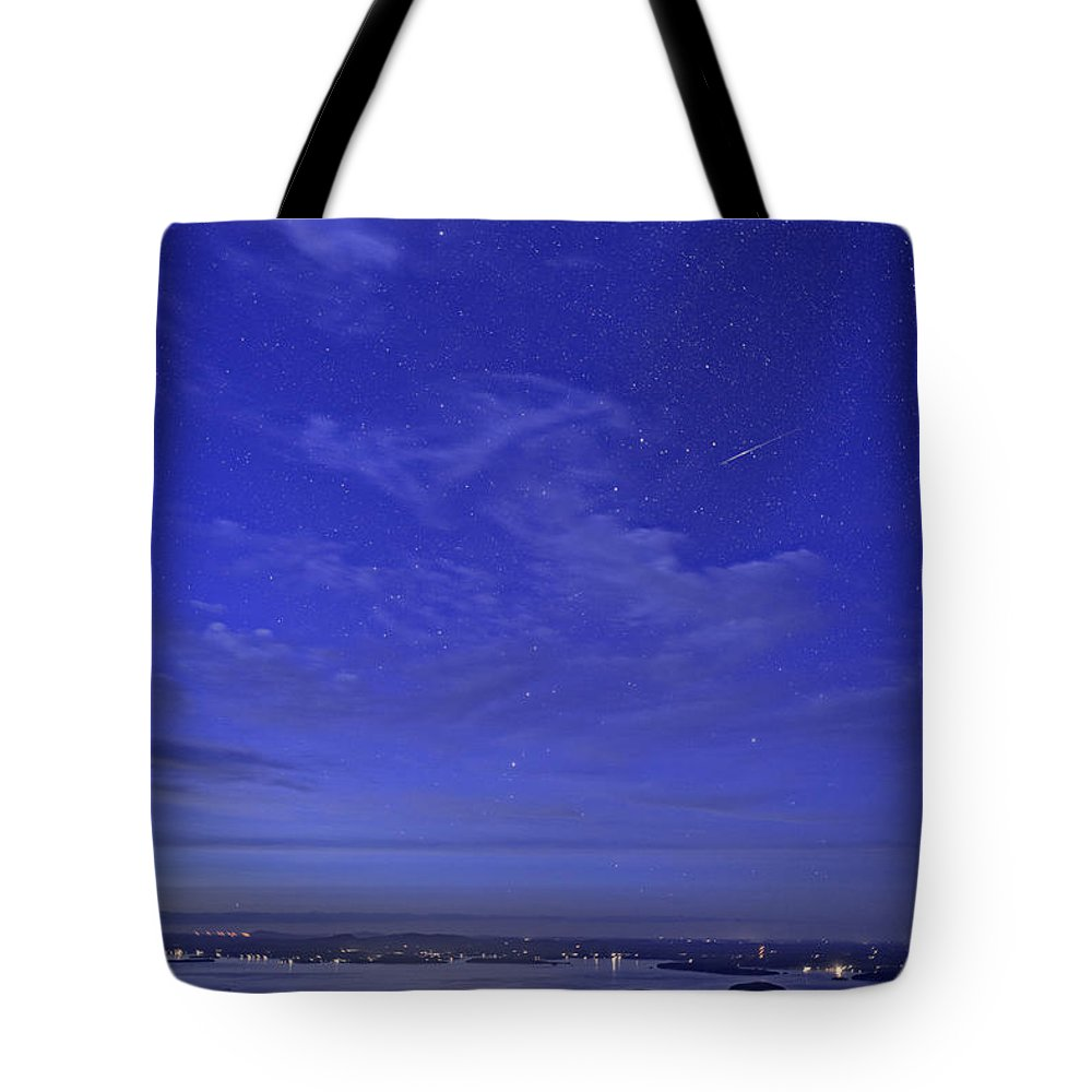 Bar Harbor Tote Bag featuring the photograph Shooting Star Over Bar Harbor by Rick Berk