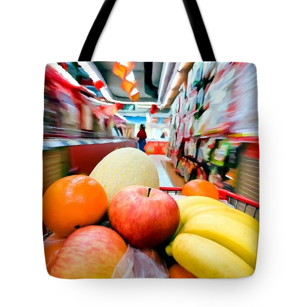 Apples Tote Bag featuring the digital art Shopping 1 by Gabriel T Toro
