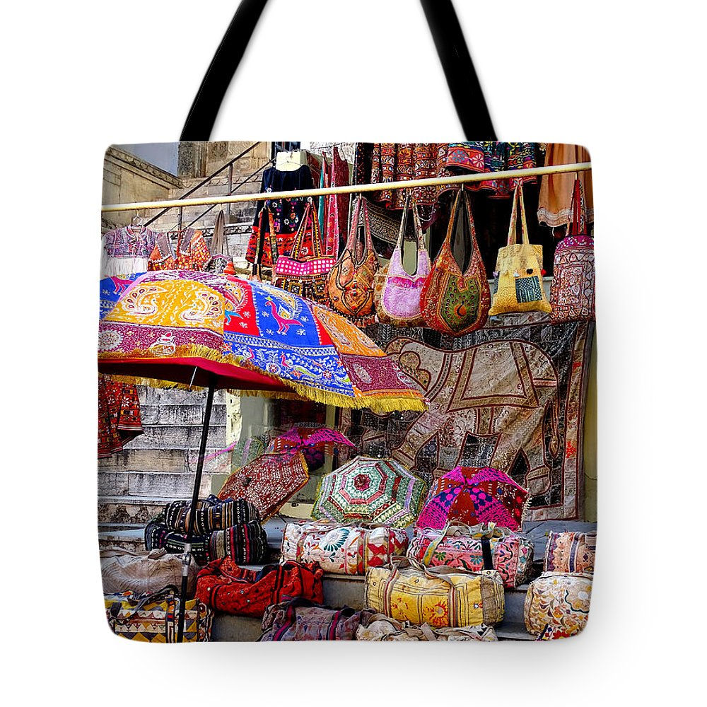 5b53fc50c68c Shopping Tote Bag featuring the photograph Shopping Colorful Bags Sale  Jaipur Rajasthan India by Sue Jacobi