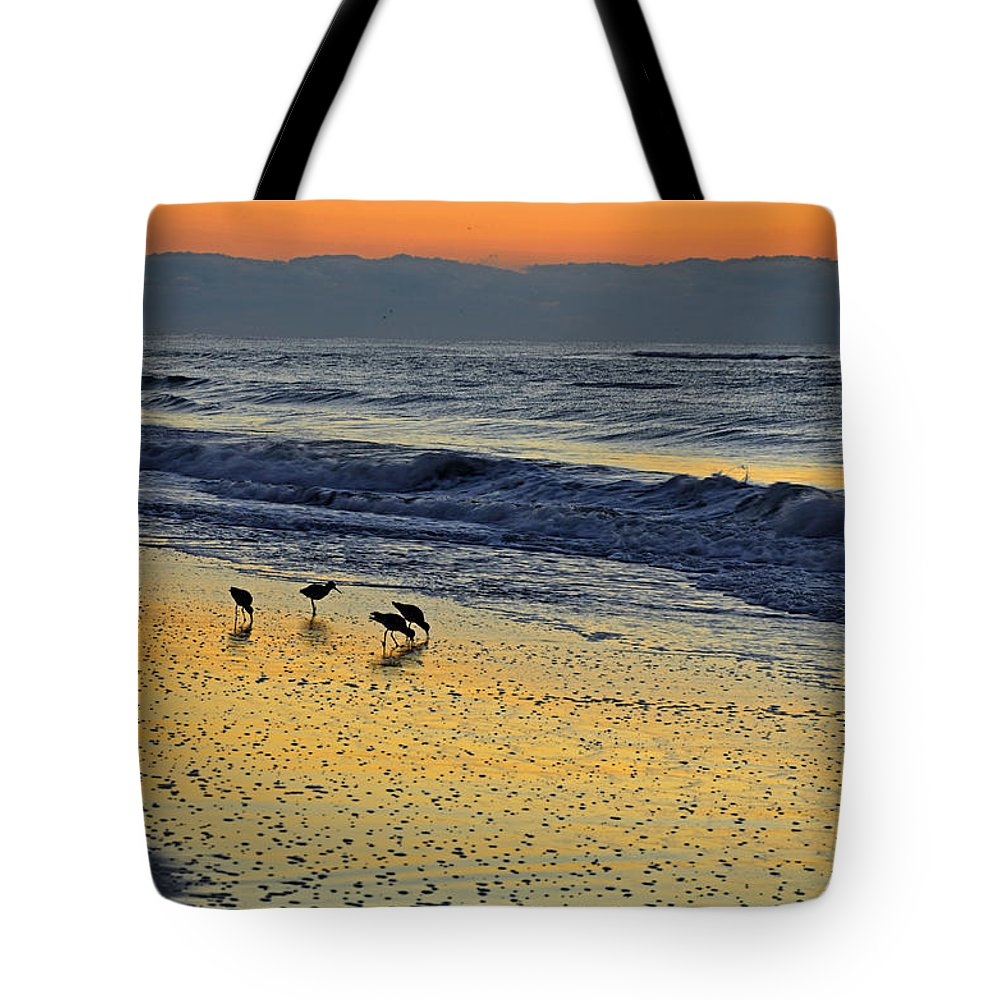 Outer Banks Tote Bag featuring the photograph Shorebirds At Dawn by Eric Albright