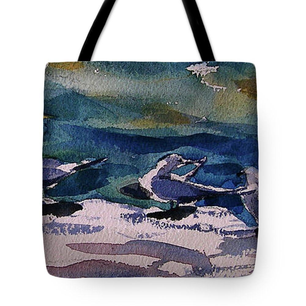 Seabirds Tote Bag featuring the painting Shoreline Birds Iv by Julianne Felton