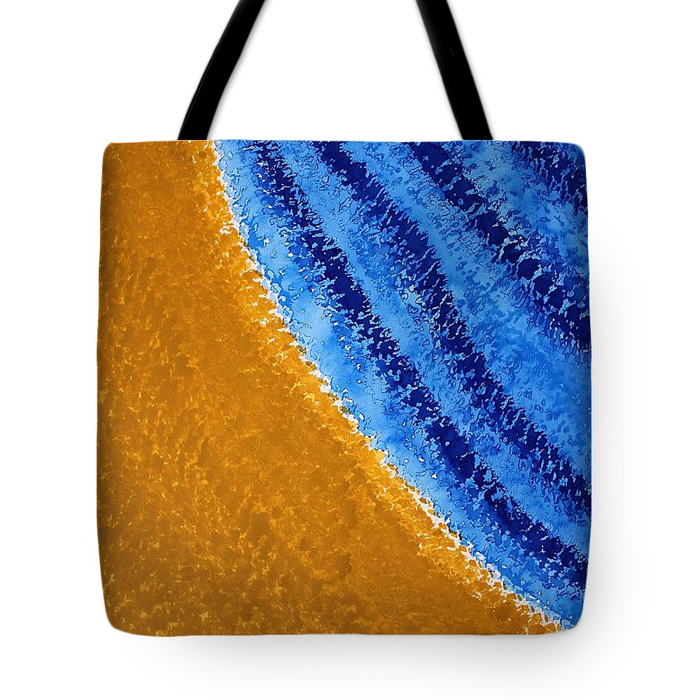 Shore Tote Bag featuring the painting Shoreline Original Painting by Sol Luckman