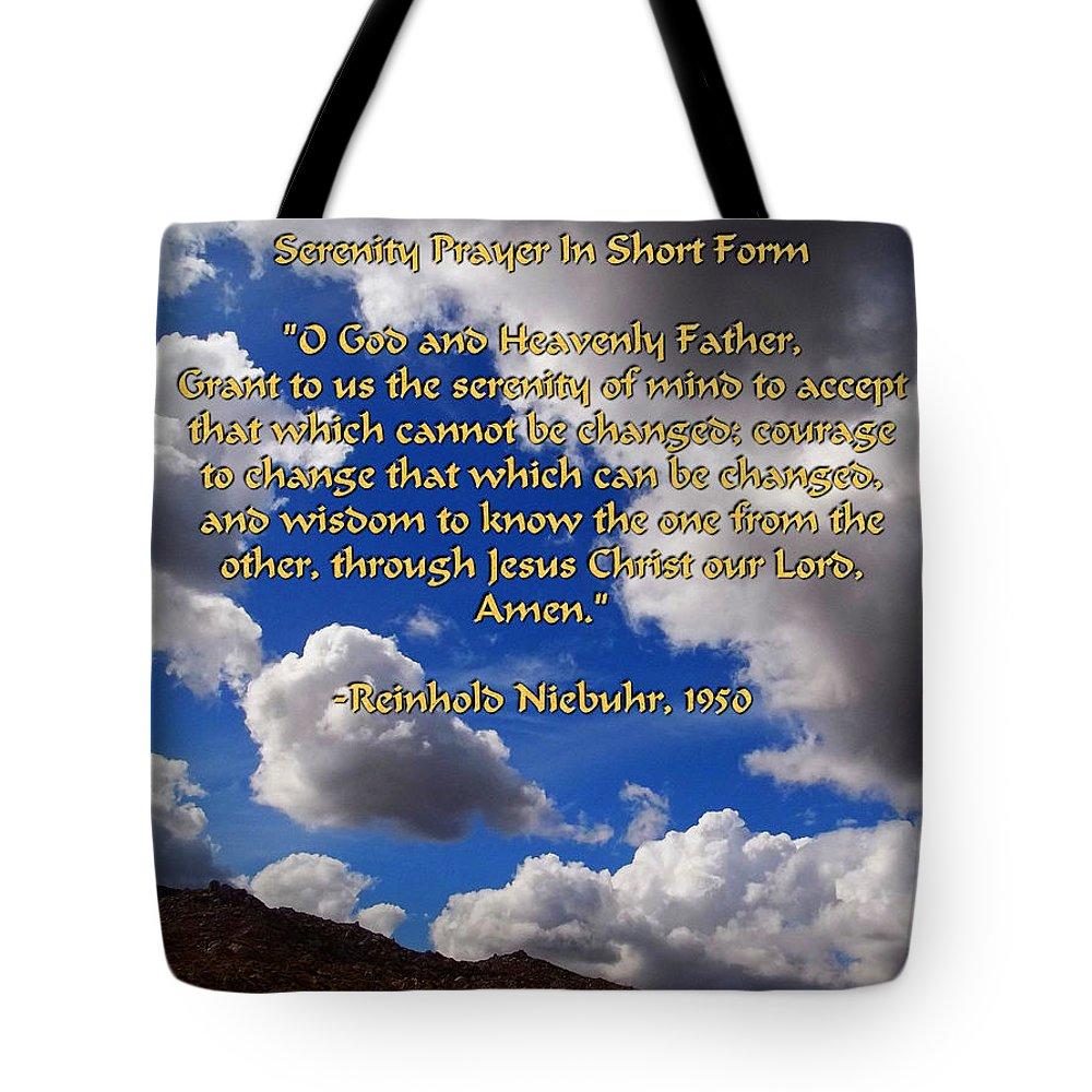 Glenn Mccarthy Tote Bag featuring the photograph Short Serenity Prayer by Glenn McCarthy Art and Photography
