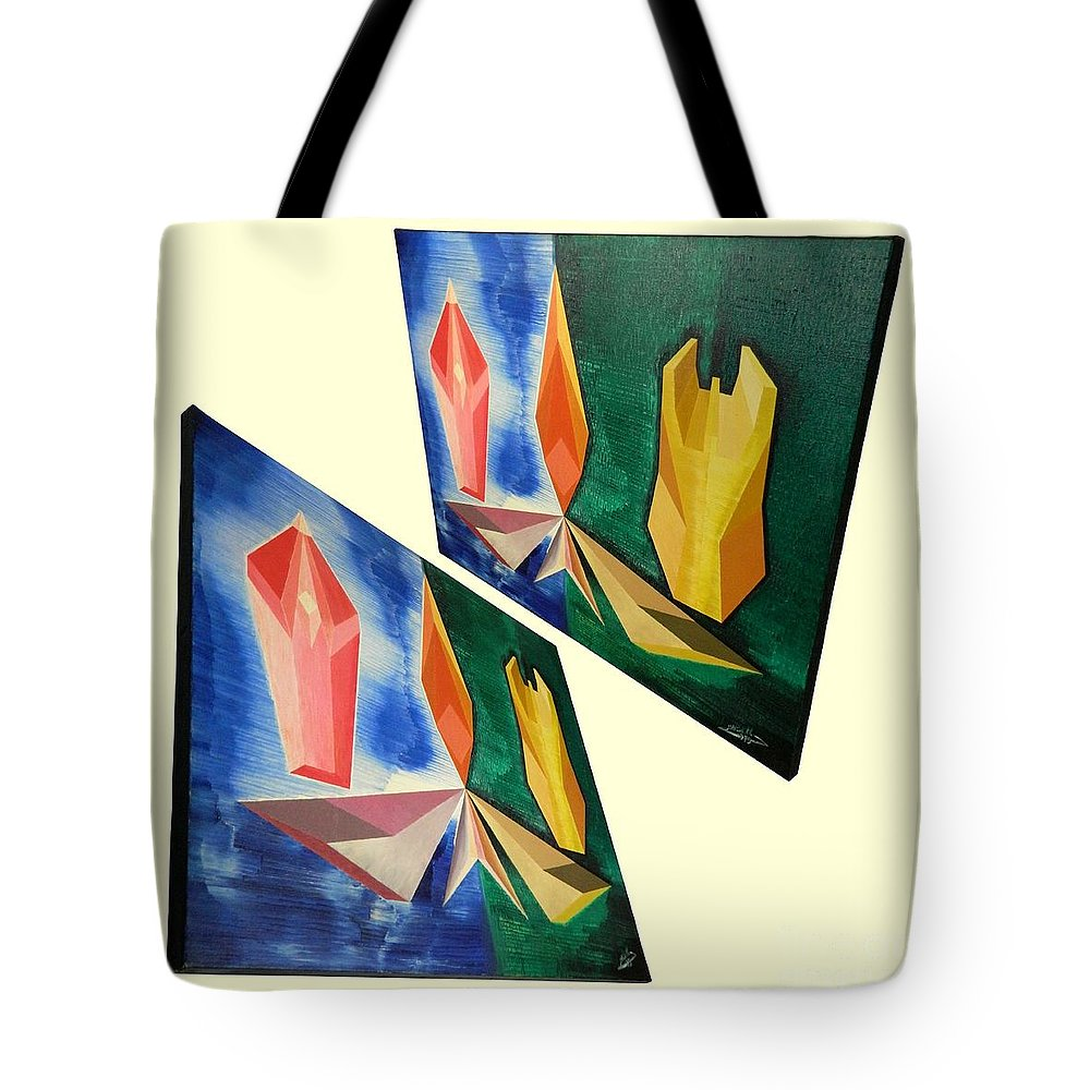 Spirituality Tote Bag featuring the painting Shots Shifted - Infini-justice 4 by Michael Bellon