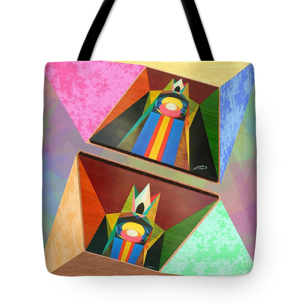 Modernism Tote Bag featuring the painting Shots Shifted - Le Pat 4 by Michael Bellon