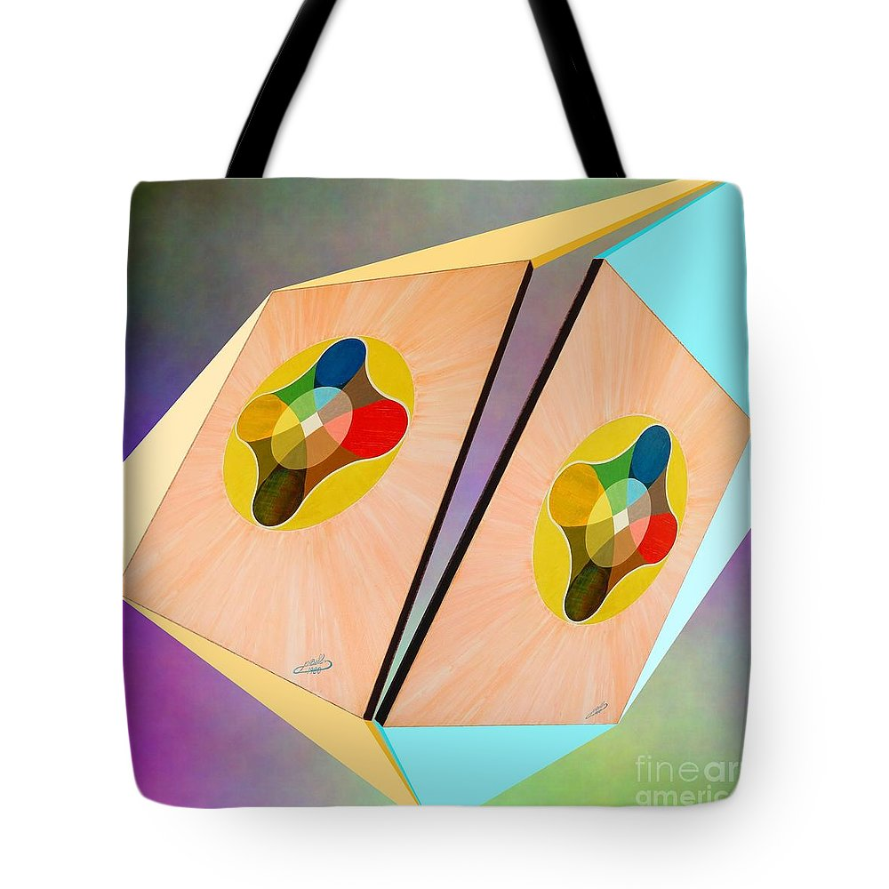 Shots Tote Bag featuring the painting Shots Shifted - Le Soleil 3 by Michael Bellon