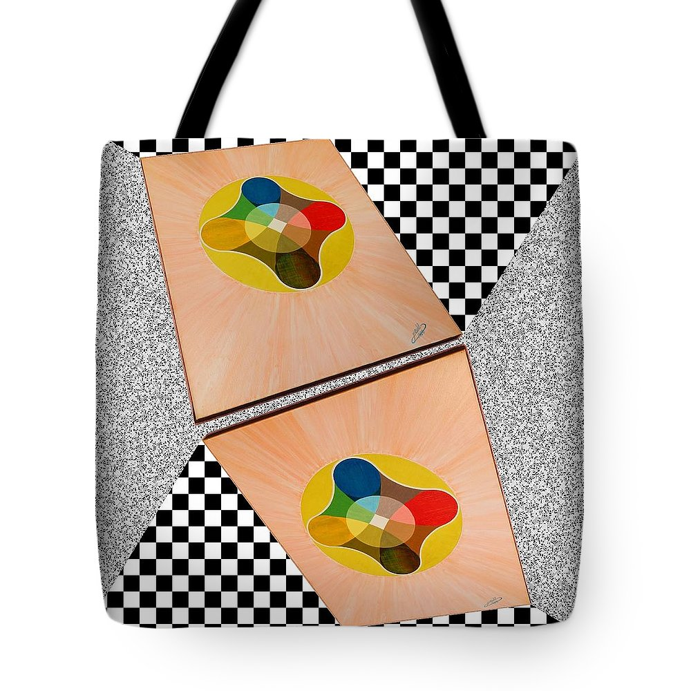 Shots Tote Bag featuring the painting Shots Shifted - Le Soleil 6 by Michael Bellon