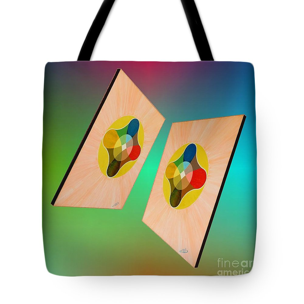 Shots Tote Bag featuring the painting Shots Shifted - Le Soleil 7 by Michael Bellon