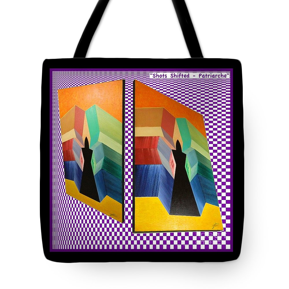 Shots Tote Bag featuring the painting Shots Shifted - Patriarche Variant by Michael Bellon