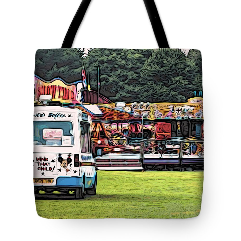 Amusement Tote Bag featuring the digital art Showtime by Paul Stevens